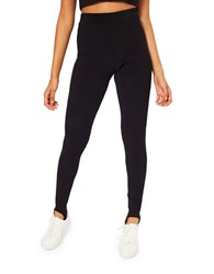 Miss Selfridge Ribbed Stirrup Leggings Black