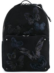 Valentino Garavani Butterfly Embroidered Camouflage Backpack Black