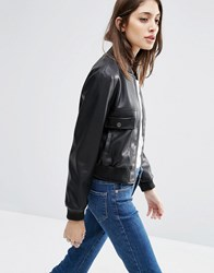 Asos Cropped Bomber Jacket Pu Black