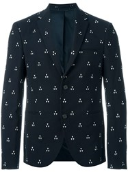 Neil Barrett Triangle Jacquard Blazer Blue