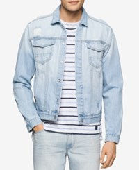 Calvin Klein Jeans Men's Bleached Ripped Denim Jacket The Beach Down