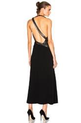 Thierry Mugler Fitted Cady And Lace Chain Gown In Black