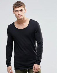 Asos Muscle Long Sleeve T Shirt With Scoop Neck In Black Black