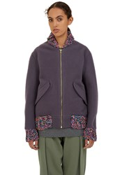 Von Sono Multicolour Knit Bomber Jacket Purple