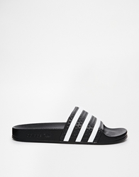 Adidas Originals Adilette Black And White Stripe Slider Sandals