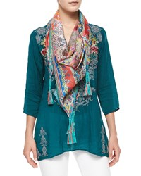Helen Printed Silk Georgette Square Scarf Multi Colors Johnny Was Collection