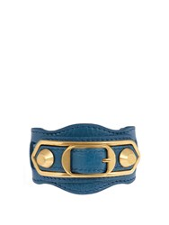 Balenciaga Classic Metallic Edge Leather Bracelet Blue