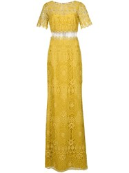 Marchesa Notte Lace Gown Yellow And Orange