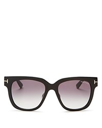 Tom Ford Tracy Square Sunglasses 54Mm Black Rose Gold Gradient Smoke Lens