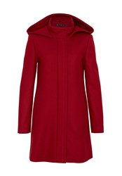 Hallhuber Wool Coat With Hood And Back Pleat Red