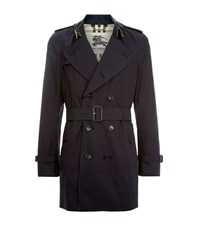 Burberry London The Kensington Mid Length Heritage Trench Coat Male Navy