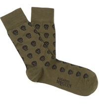 Alexander Mcqueen Skull Patterned Cotton Blend Jacquard Socks Army Green