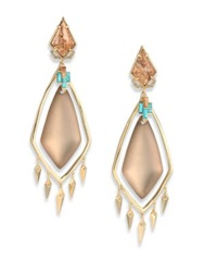 Alexis Bittar Phoenix Deco Lucite Jasper Turquoise Howlite And Crystal Spike Clip On Chandelier Earrings Gold Turquoise