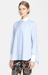 Valentino Pleated Back Cotton Blouse Celeste