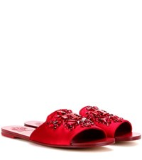 Tory Burch Delphine Embellished Satin Slip On Sandals Red
