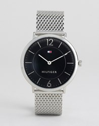 Tommy Hilfiger Ultra Slim Mesh Watch In Silver Silver