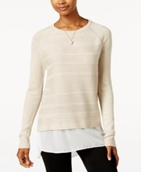 Amy Byer Bcx Juniors' High Low Layered Look Sweater White