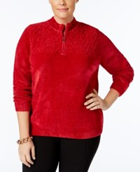 Alfred Dunner Plus Size Quarter Zip Chenille Sweater Red
