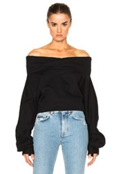 Off White Down Shoulder Blouse In Black