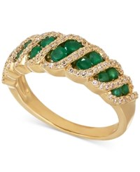 Macy's Emerald 5 8 Ct. T.W. And Diamond 1 4 Ct. T.W. Ring In 14K Gold Green