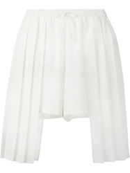 Off White Pleated Detail Shorts