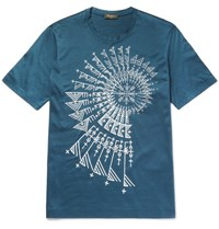 Berluti Slim Fit Printed Cotton Jersey T Shirt Petrol