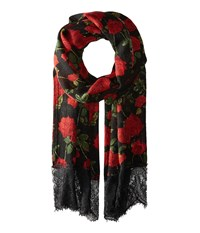 Betsey Johnson Avantgard Rose Wrap Black Scarves