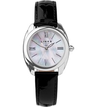 Links Of London Bloomsbury Stainless Steel Mother Of Pearl And Leather Watch Black