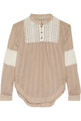 Sea Broderie Anglaise Paneled Cotton And Silk Blend Blouse Sand