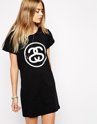 Stussy T Shirt Dress With Front And Back Logo Blackwhite