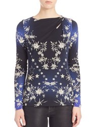 Roberto Cavalli Printed Long Sleeve Jersey Blouse Blue Star Print