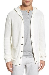 Men's W.R.K. 'Montauk' Hooded Cotton Cardigan White