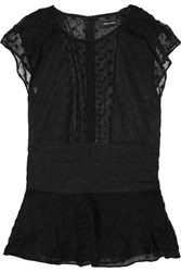 Isabel Marant Vermer Embroidered Silk Organza Peplum Top Black