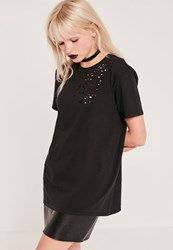 Missguided Distressed T Shirt Black