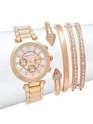 Adrienne Vittadini Goldtone Crystal Accented Bracelet Watch Set