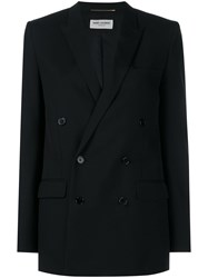 Saint Laurent Classic Wool Double Breasted Blazer Black White