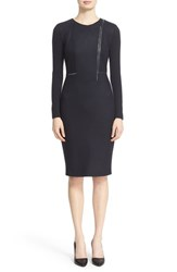 Max Mara Women's 'Edro' Lambskin Leather Trim Jersey Dress Ultramarine