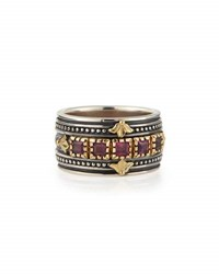 Konstantino Silver And 18K Gold Rhodolite Band Ring Red