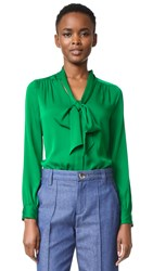 Milly Tie Neck Blouse Emerald