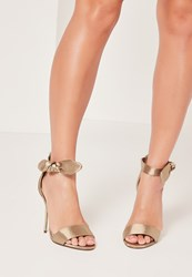 Missguided Satin Tie Metal Heeled Sandals Nude Taupe