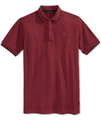 Sean John Men's Jacquard Tipped Polo True Red