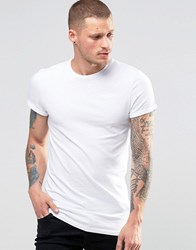 Asos Longline Muscle T Shirt With Roll Sleeve In White White