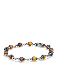 David Yurman Spiritual Beads Rosary Bracelet In Tiger Eye Brown Silver
