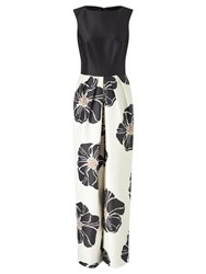 Bruce By Bruce Oldfield Full Length Floral Dress Black Cream