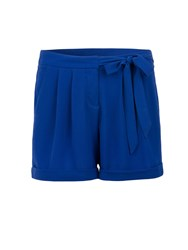 Morgan Pleated Turn Up Chino Style Shorts Blue