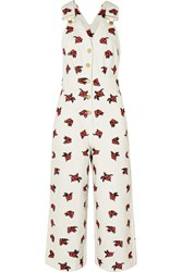 House Of Holland Embroidered Denim Overalls White