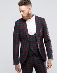 Noose And Monkey Super Skinny Suit Jacket In Tartan With Stretch Burgundy Red