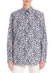 Lafayette 148 New York Dotted Button Front Shirt Ink Multi