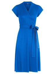 Hotsquash Cap Sleeve Wrap Dress In Unique Fabric Cobalt