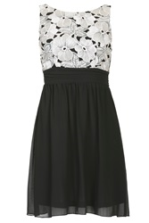 Chase 7 Gathered Floral Lace Dress Black